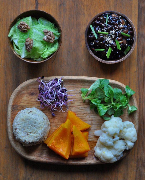 1millet&buckwheat2nishime-pumpkin&cauliflower3red-radish-sprouts4watercress5blanched-green-cabbage&roasted-walnuts6shoyu,ginger&kuzu-black-soybeans